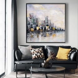 Framed 48 x 48 - Abstract cityscape in the morning