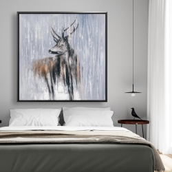 Framed 48 x 48 - Deer in the forest by a rainy day