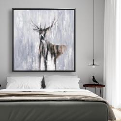 Framed 48 x 48 - Winter abstract deer
