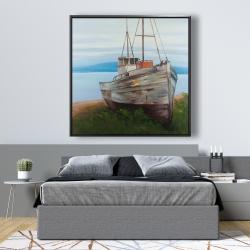 Framed 48 x 48 - Old abandoned boat
