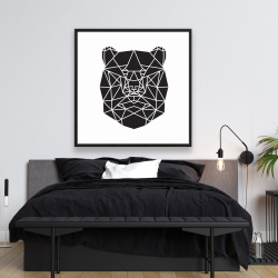 Framed 48 x 48 - Geometric bear head