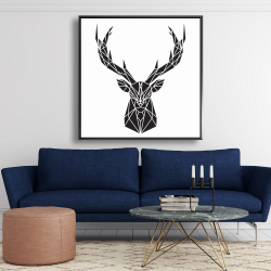 Framed 48 x 48 - Geometric deer head
