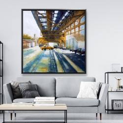 Framed 48 x 48 - Cars under the bridge