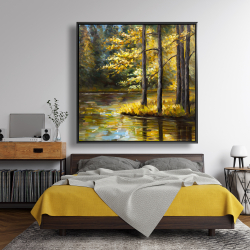 Framed 48 x 48 - Fall landscape by the water