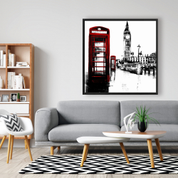 Framed 48 x 48 - Telephone box and big ben of london