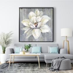 Framed 48 x 48 - White flower on wood