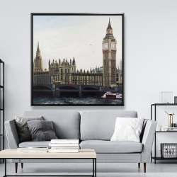 Framed 48 x 48 - Big ben clock elizabeth tower in london