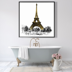 Framed 48 x 48 - Outline of eiffel tour