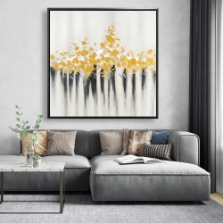 Framed 48 x 48 - Abstract gold flowers