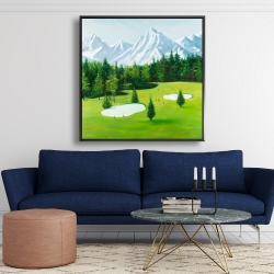 Framed 48 x 48 - Golf course with mountains view