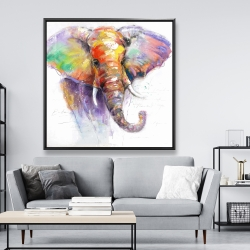 Framed 48 x 48 - Beautiful and colorful elephant