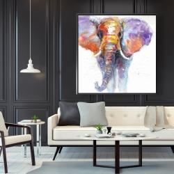 Framed 48 x 48 - Colorful walking elephant