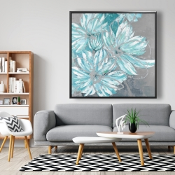 Framed 48 x 48 - Three little abstract blue flowers