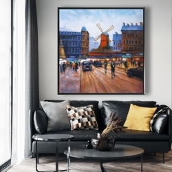 Framed 48 x 48 - Street scene to moulin rouge