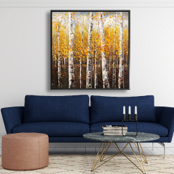 Framed 48 x 48 - Birches by sunny day