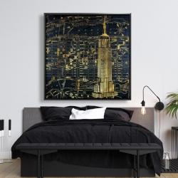 Framed 48 x 48 - Gold city blue print