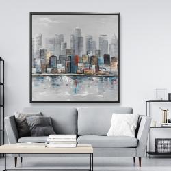 Framed 48 x 48 - Abstract city skyline