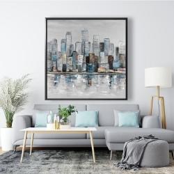 Framed 48 x 48 - Abstract urban skyline