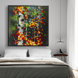 Framed 48 x 48 - Colorful dotted leaves birches