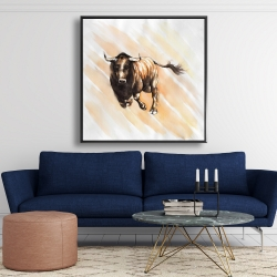 Framed 48 x 48 - Bull running watercolor