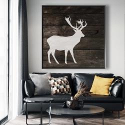 Framed 48 x 48 - Deer on wood background