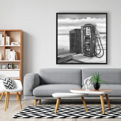 Framed 48 x 48 - Old gas pump