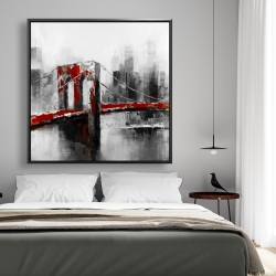 Framed 48 x 48 - Abstract and red brooklyn bridge