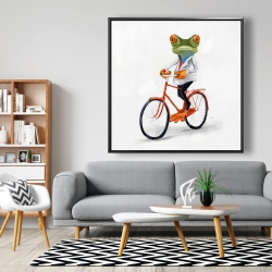 Framed 48 x 48 - Funny frog riding a bike