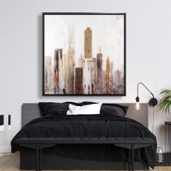 Framed 48 x 48 - Abstract earthy tones city