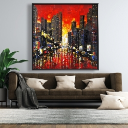 Framed 48 x 48 - Abstract sunset on the city