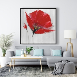Framed 48 x 48 - Two red flowers on gray background