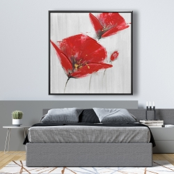 Framed 48 x 48 - Three red flowers with golden center