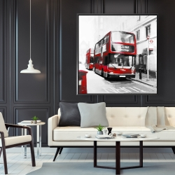 Framed 48 x 48 - Red bus in a gray street
