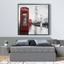Framed 48 x 48 - Red phonebooth with the big ben