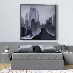 Framed 48 x 48 - Illustrative gray city