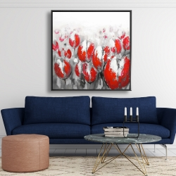 Framed 48 x 48 - Abstract red tulips