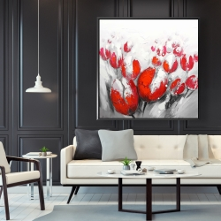 Framed 48 x 48 - Red tulips