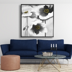 Framed 48 x 48 - Black and white flowers