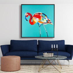 Framed 48 x 48 - Abstract flamingo