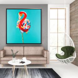 Framed 48 x 48 - Colorful flamingo