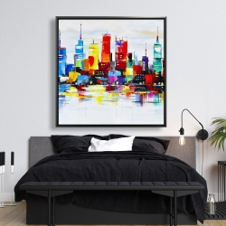 Framed 48 x 48 - Abstract and colorful city