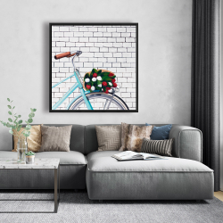 Framed 48 x 48 - Bicycle with a bouquet of tulips