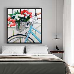 Framed 48 x 48 - Bicycle with tulips flowers in basket