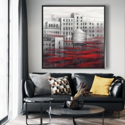 Framed 48 x 48 - Gray city with red clouds