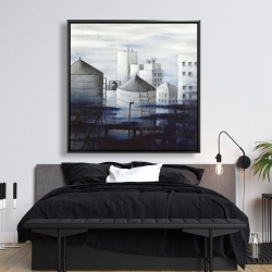 Framed 48 x 48 - Gray city with blue clouds