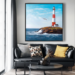 Framed 48 x 48 - Lighthouse at the edge of the sea
