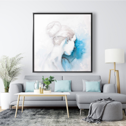 Framed 48 x 48 - Watercolor abstract girl with hair bun