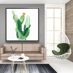 Framed 48 x 48 - Watercolor paddle cactus with flower