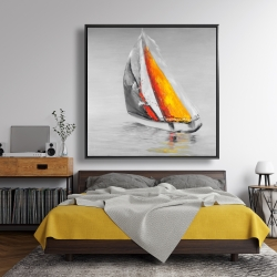 Framed 48 x 48 - Two colors sailing boat