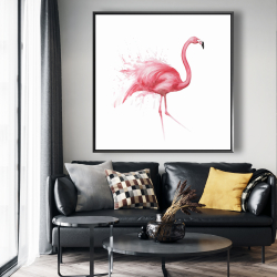 Framed 48 x 48 - Pink flamingo watercolor